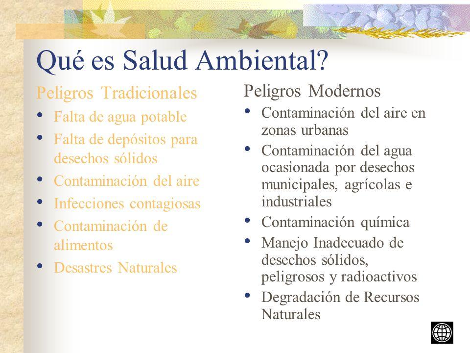 Qué es Salud Ambiental Peligros Tradicionales Peligros Modernos