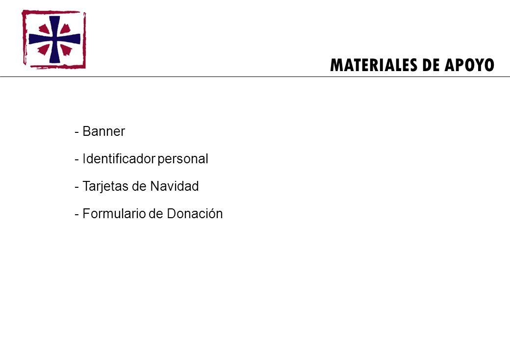 MATERIALES DE APOYO Banner Identificador personal Tarjetas de Navidad