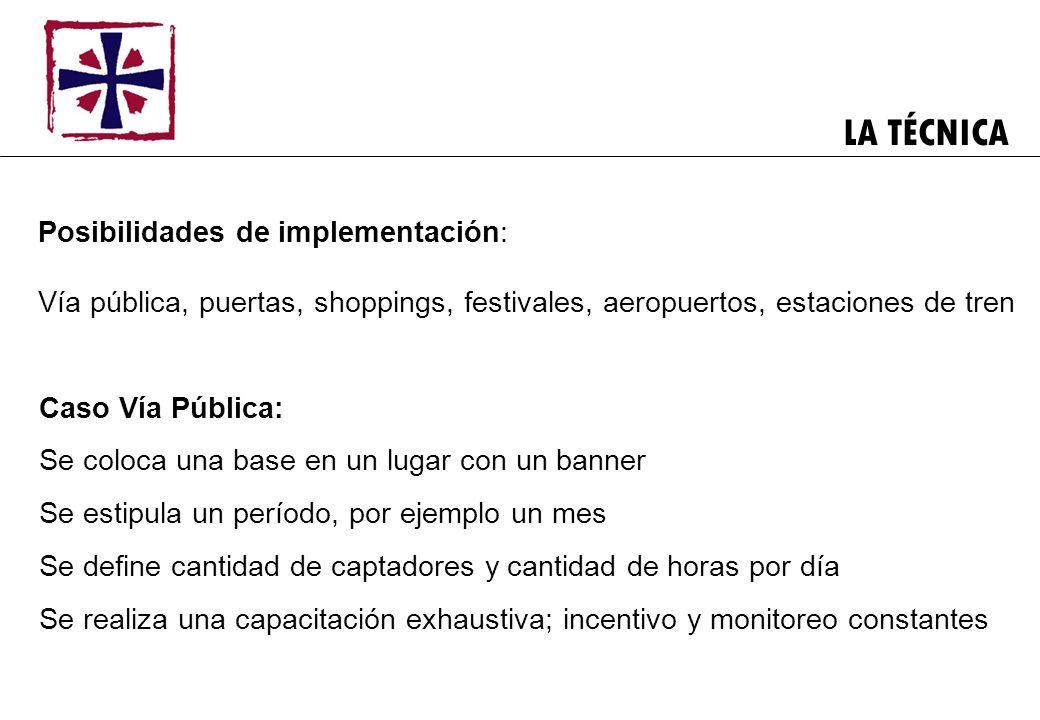 LA TÉCNICA Posibilidades de implementación: