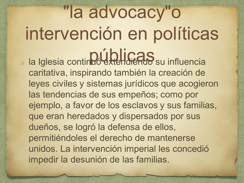 la advocacy o intervención en políticas públicas