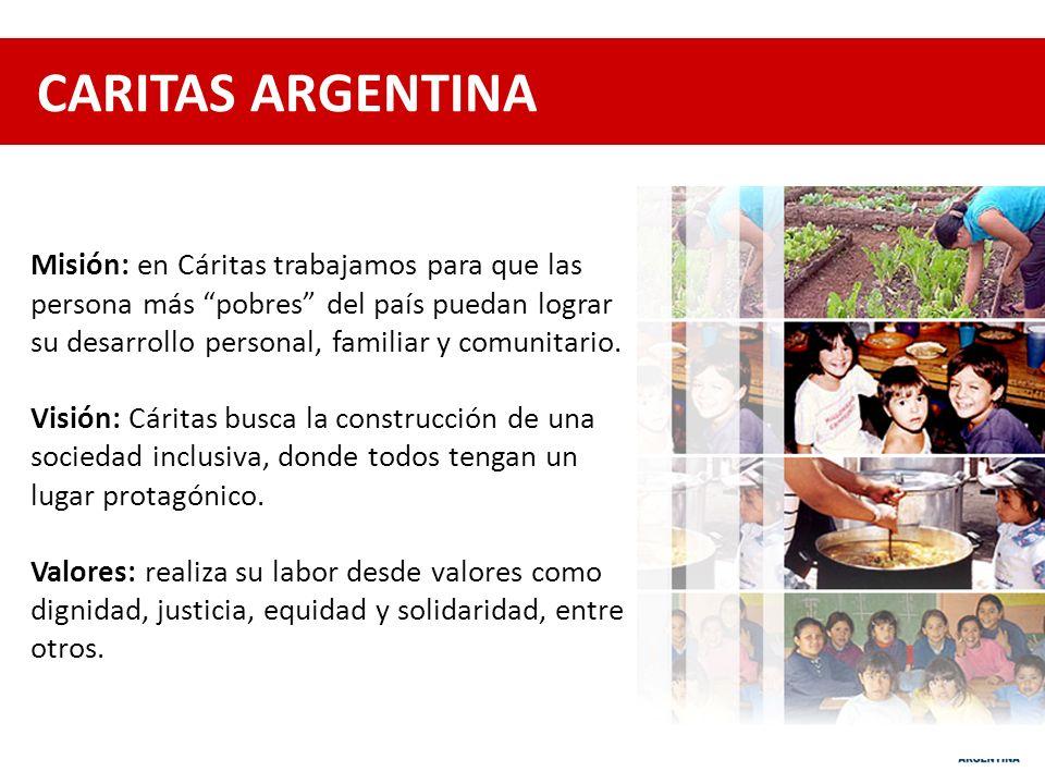 CARITAS ARGENTINA Misión: en Cáritas trabajamos para que las persona más pobres del país puedan lograr.