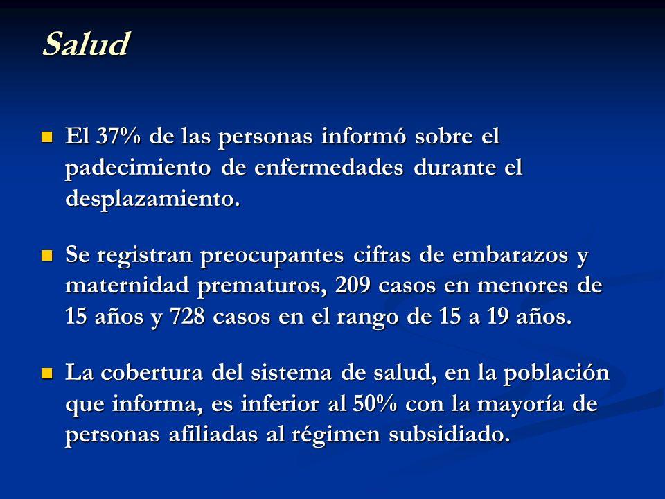 SaludEl 37% de las personas informó sobre el padecimiento de enfermedades durante el desplazamiento.