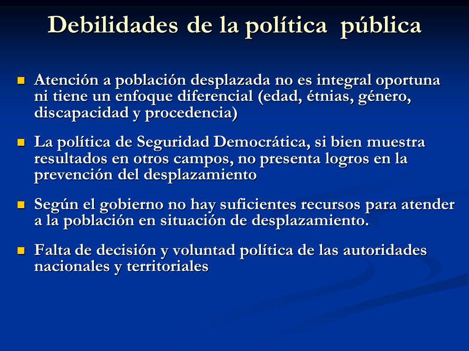 Debilidades de la política pública