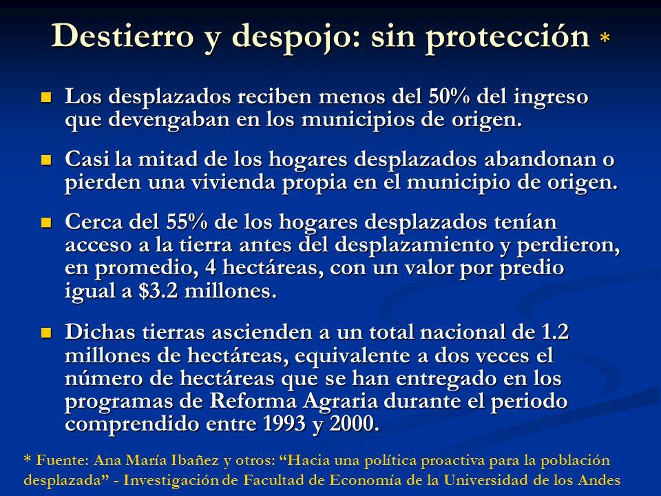 Destierro y despojo: sin protección *