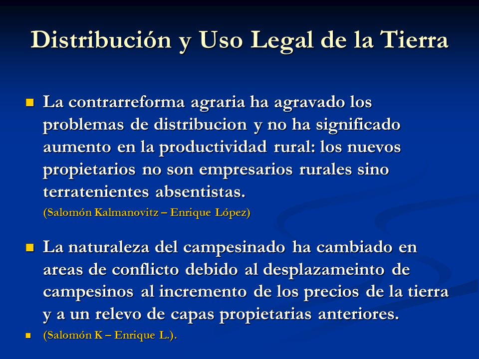 Distribución y Uso Legal de la Tierra