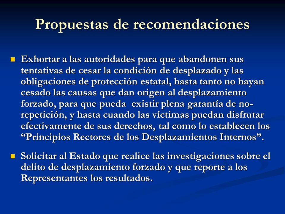 Propuestas de recomendaciones