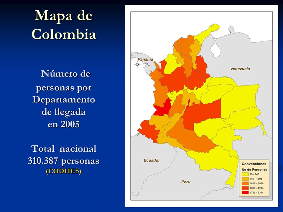 Mapa de Colombia Número de personas por Departamento de llegada en 2005 Total nacional 310.387 personas (CODHES)