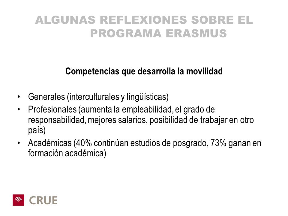 ALGUNAS REFLEXIONES SOBRE EL PROGRAMA ERASMUS