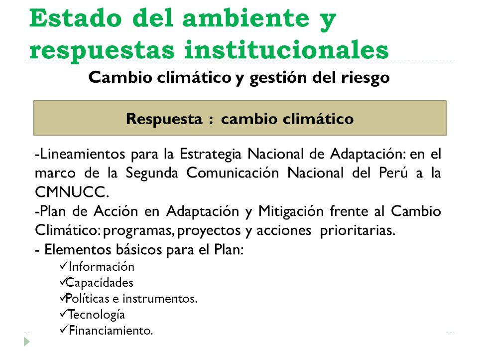 Estado del ambiente y respuestas institucionales