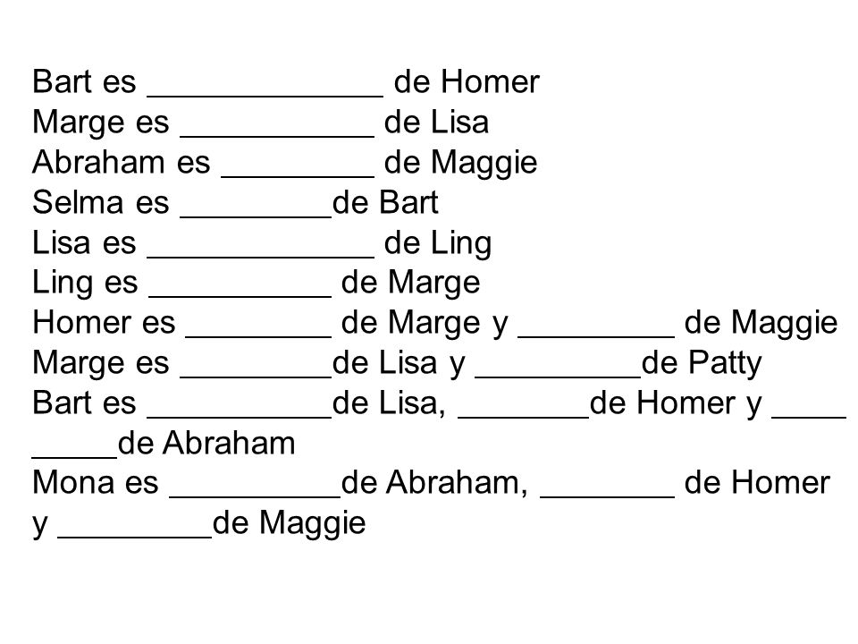 Bart es. de Homer Marge es. de Lisa Abraham es. de Maggie Selma es