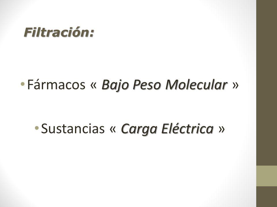 Fármacos « Bajo Peso Molecular » Sustancias « Carga Eléctrica »