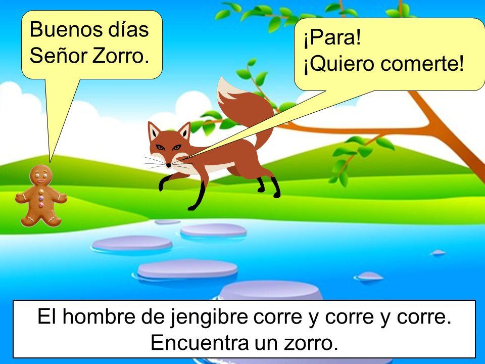 El hombre de jengibre corre y corre y corre. Encuentra un zorro.