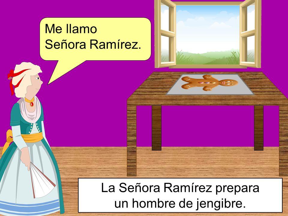 La Señora Ramírez prepara un hombre de jengibre.