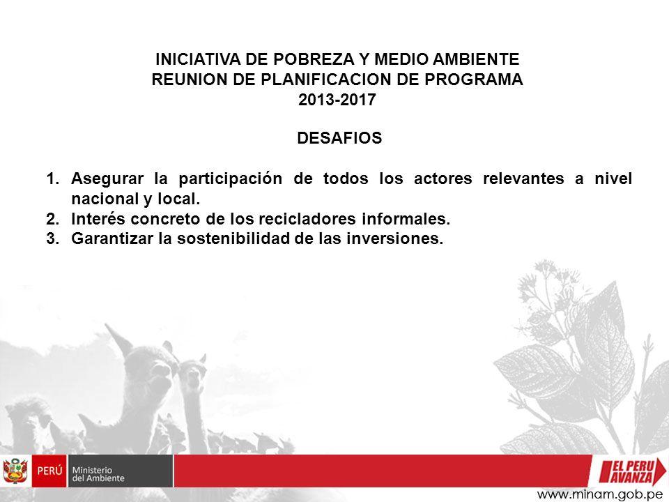 INICIATIVA DE POBREZA Y MEDIO AMBIENTE