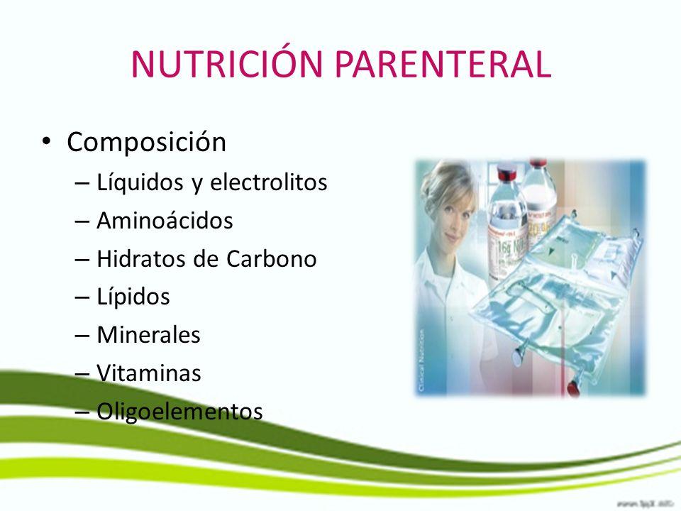 NUTRICIÓN PARENTERAL Composición Líquidos y electrolitos Aminoácidos