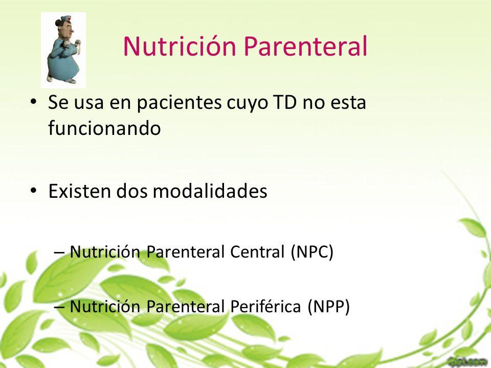 Nutrición Parenteral Se usa en pacientes cuyo TD no esta funcionando