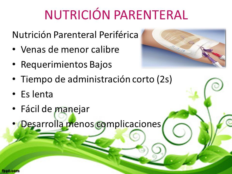 NUTRICIÓN PARENTERAL Nutrición Parenteral Periférica
