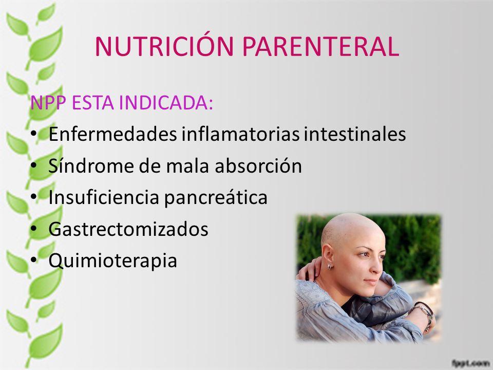 NUTRICIÓN PARENTERAL NPP ESTA INDICADA: