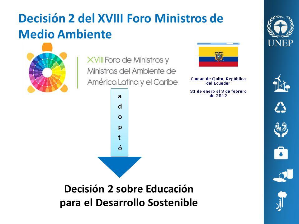 Decisión 2 sobre Educación para el Desarrollo Sostenible