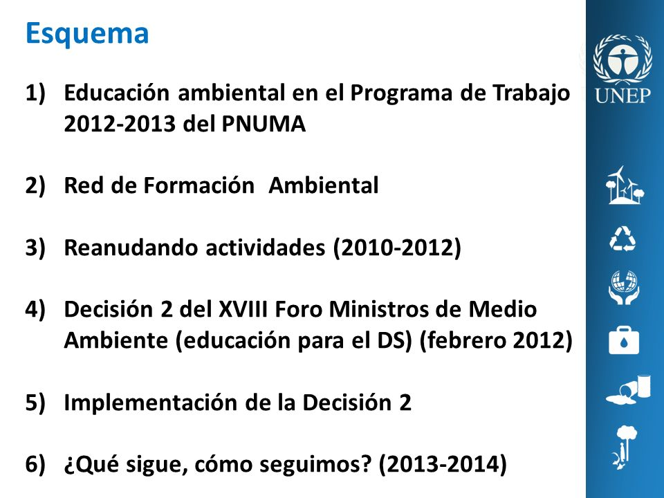 Esquema Educación ambiental en el Programa de Trabajo 2012-2013 del PNUMA. Red de Formación Ambiental.