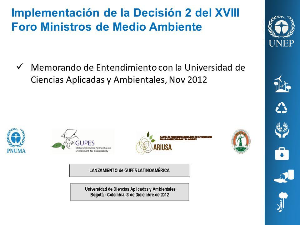Implementación de la Decisión 2 del XVIII Foro Ministros de Medio Ambiente