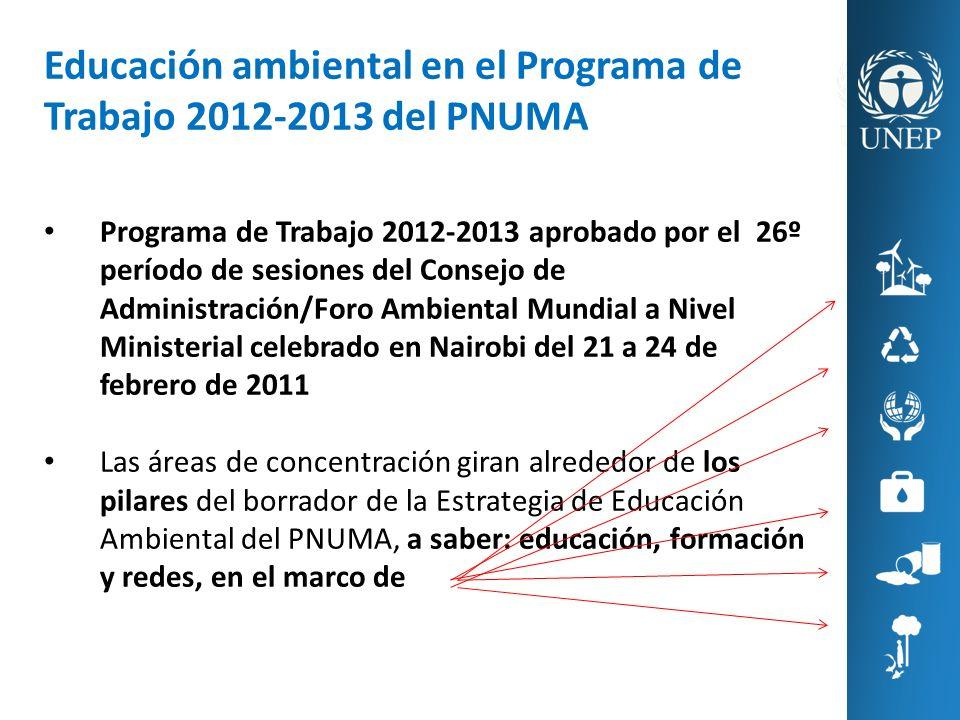 Educación ambiental en el Programa de Trabajo 2012-2013 del PNUMA