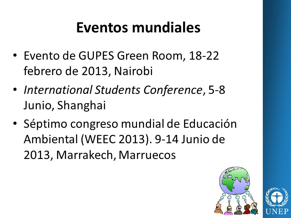 Eventos mundiales Evento de GUPES Green Room, 18-22 febrero de 2013, Nairobi. International Students Conference, 5-8 Junio, Shanghai.