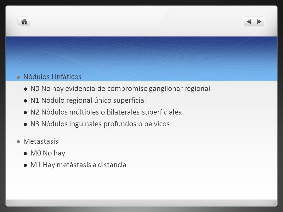 Nódulos Linfáticos N0 No hay evidencia de compromiso ganglionar regional. N1 Nódulo regional único superficial.
