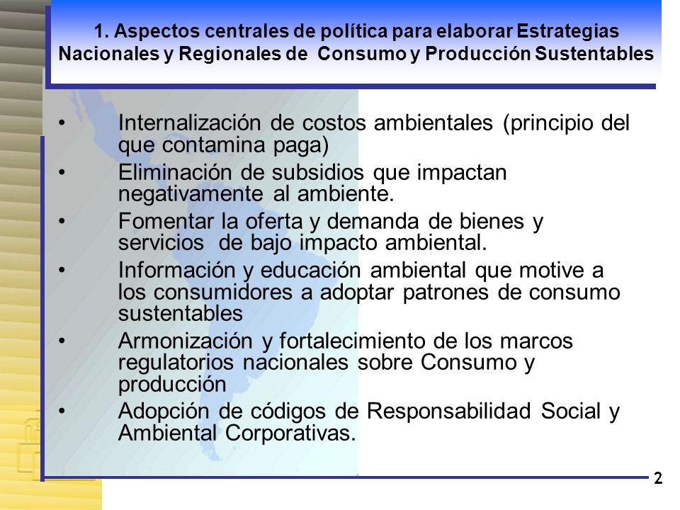 Eliminación de subsidios que impactan negativamente al ambiente.