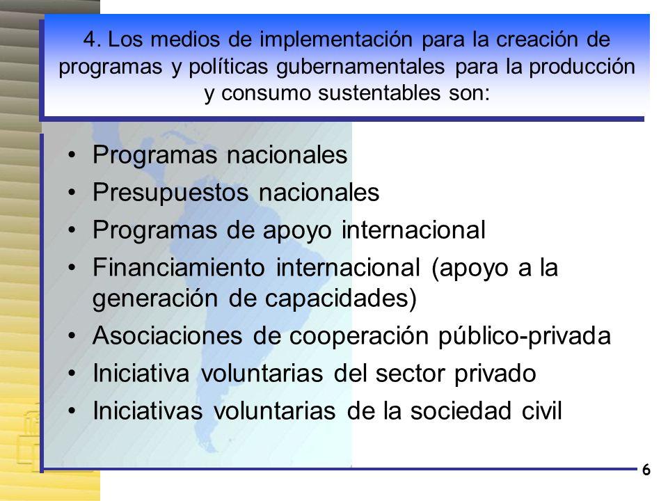 Presupuestos nacionales Programas de apoyo internacional
