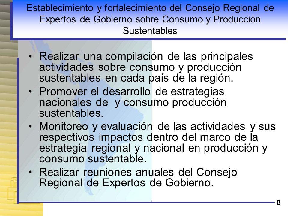 Establecimiento y fortalecimiento del Consejo Regional de Expertos de Gobierno sobre Consumo y Producción Sustentables
