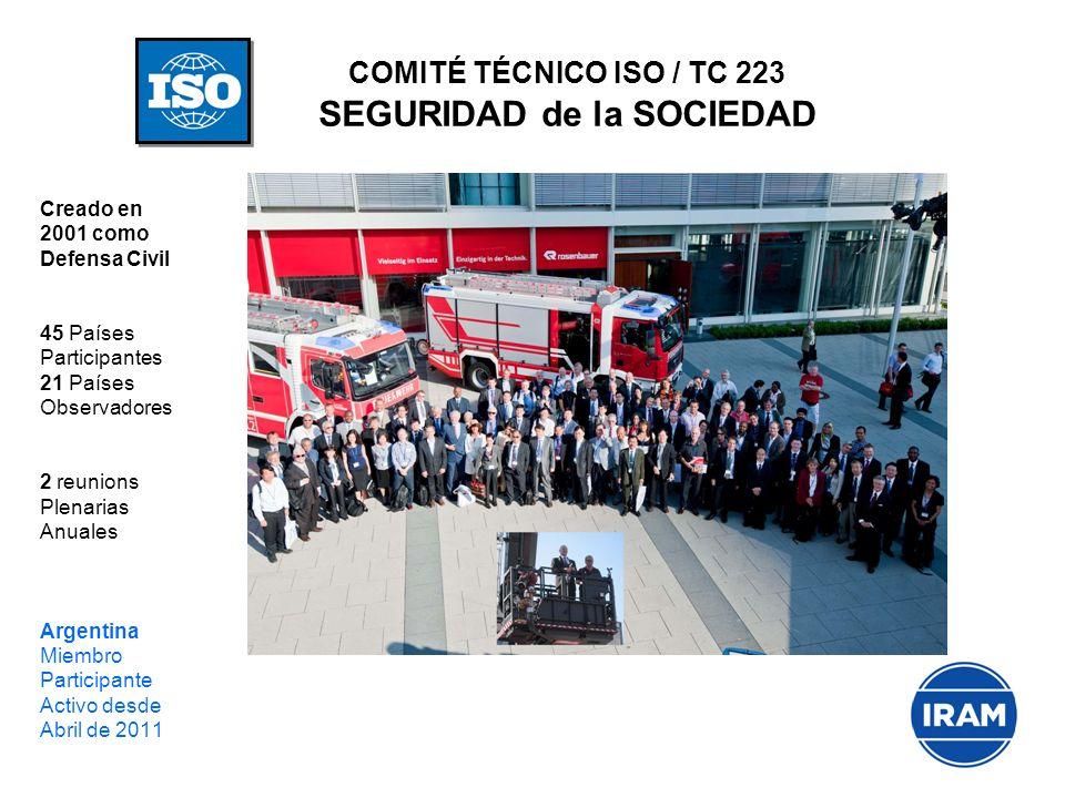 COMITÉ TÉCNICO ISO / TC 223 SEGURIDAD de la SOCIEDAD