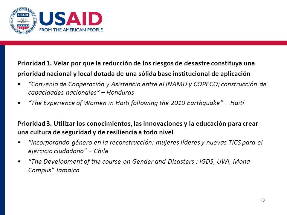 Prioridad 1. Velar por que la reducción de los riesgos de desastre constituya una