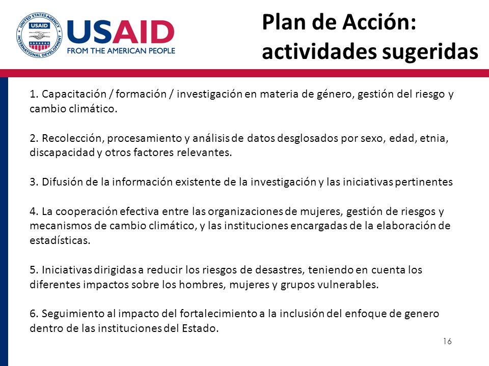 Plan de Acción: actividades sugeridas