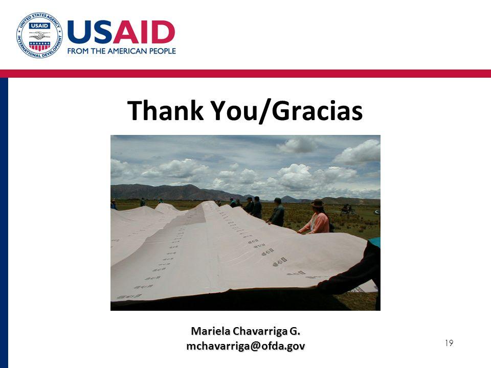 Thank You/Gracias Mariela Chavarriga G. mchavarriga@ofda.gov