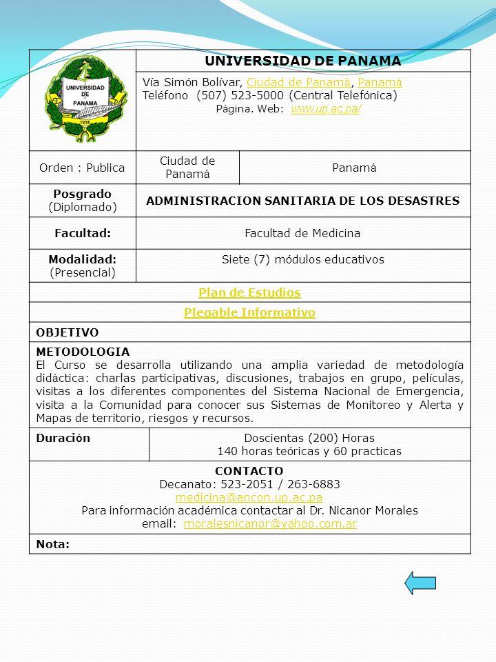 ADMINISTRACION SANITARIA DE LOS DESASTRES