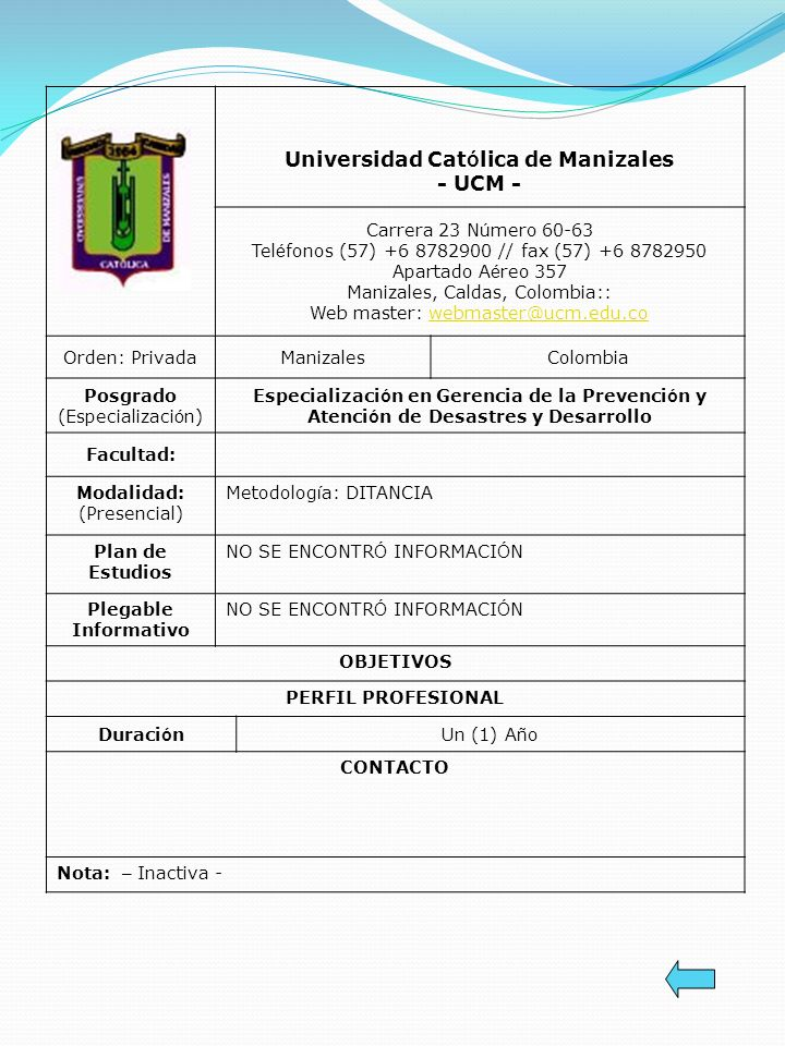 Universidad Católica de Manizales - UCM -