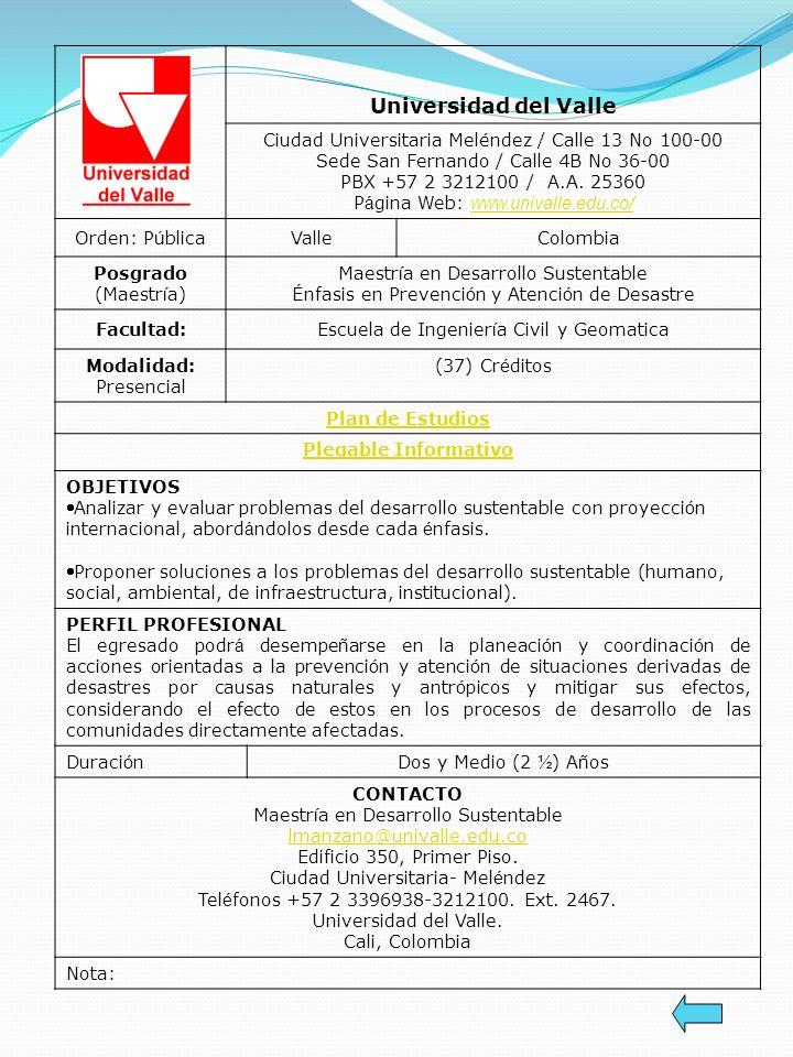 Universidad del Valle Ciudad Universitaria Meléndez / Calle 13 No 100-00 Sede San Fernando / Calle 4B No 36-00 PBX +57 2 3212100 / A.A. 25360.