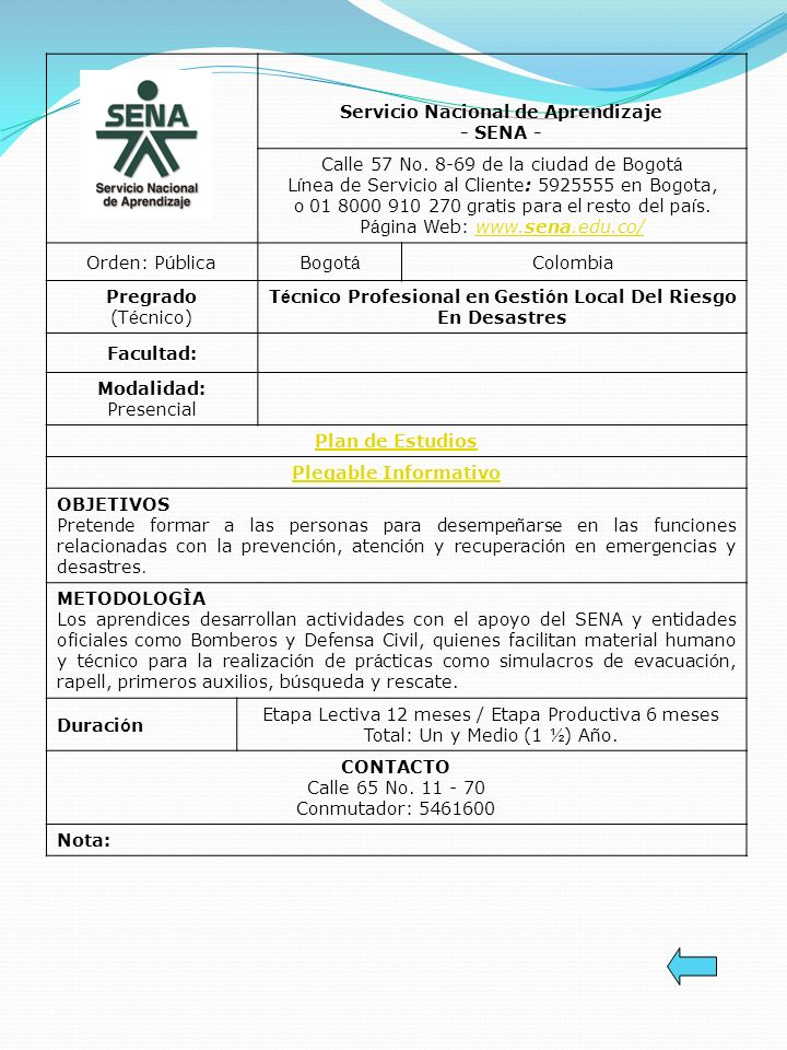 Técnico Profesional en Gestión Local Del Riesgo En Desastres