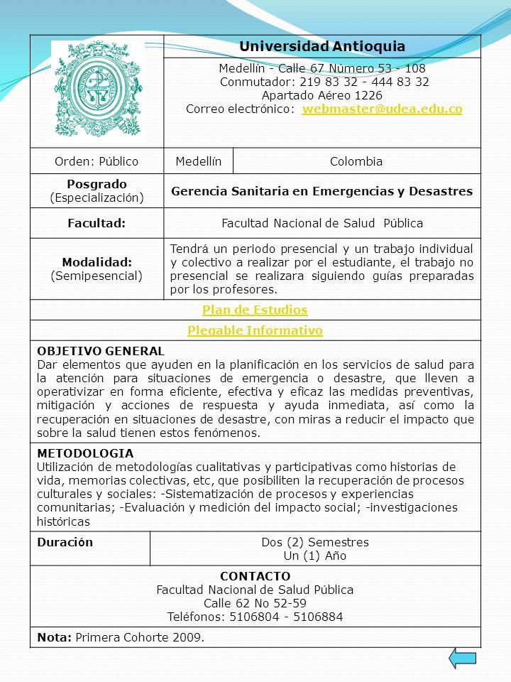 Universidad Antioquia Gerencia Sanitaria en Emergencias y Desastres