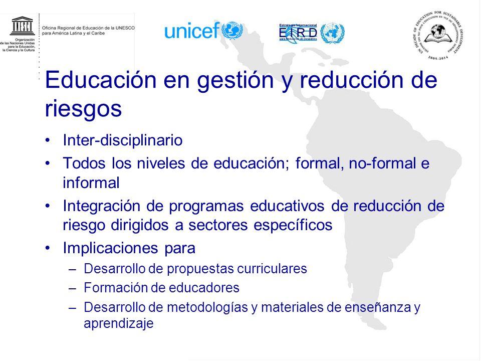 Educación en gestión y reducción de riesgos