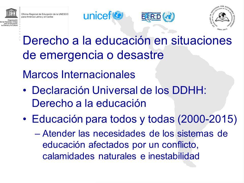 Derecho a la educación en situaciones de emergencia o desastre