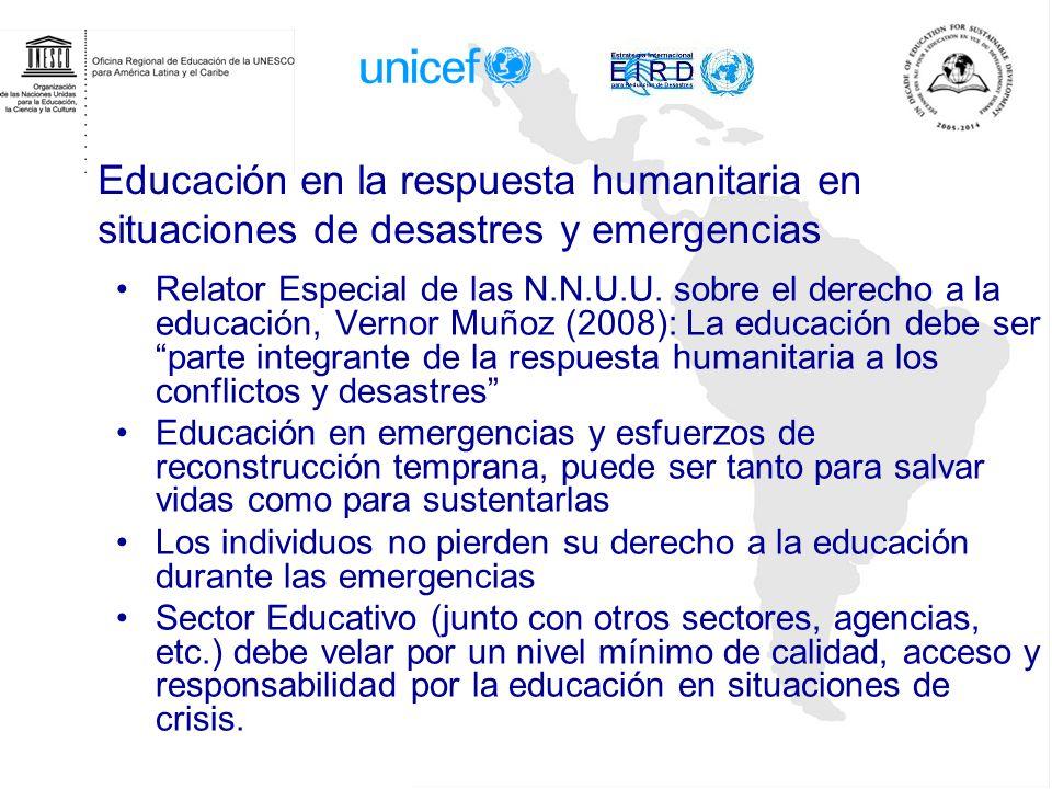 Educación en la respuesta humanitaria en situaciones de desastres y emergencias