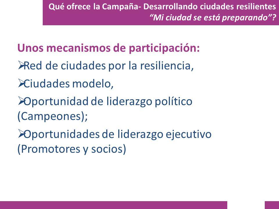 Unos mecanismos de participación: Red de ciudades por la resiliencia,