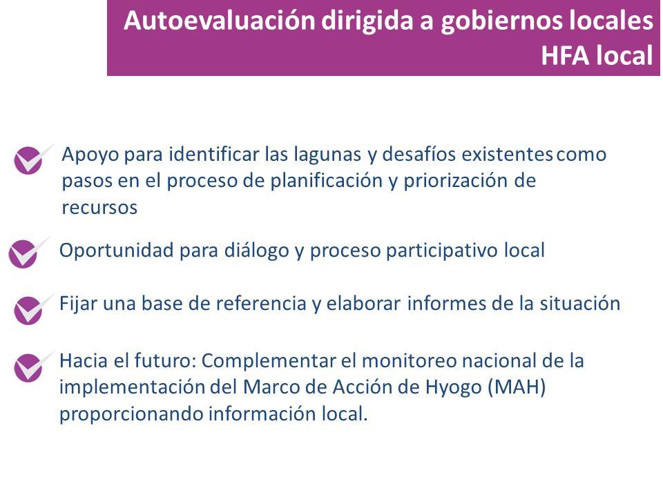 Autoevaluación dirigida a gobiernos locales HFA local