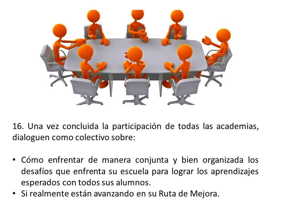 16. Una vez concluida la participación de todas las academias, dialoguen como colectivo sobre: