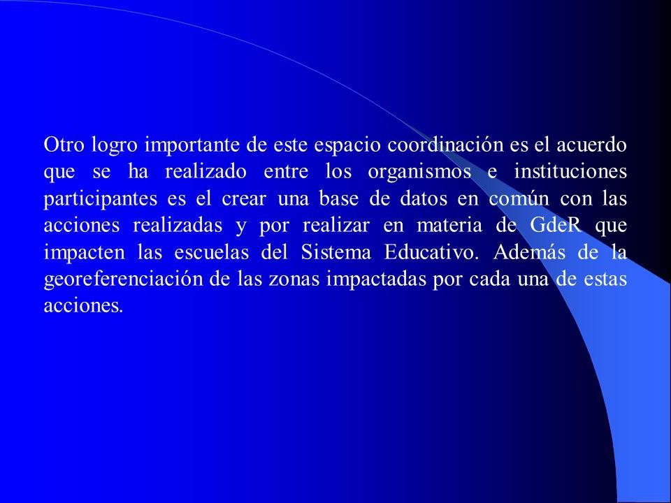 Otro logro importante de este espacio coordinación es el acuerdo que se ha realizado entre los organismos e instituciones participantes es el crear una base de datos en común con las acciones realizadas y por realizar en materia de GdeR que impacten las escuelas del Sistema Educativo.
