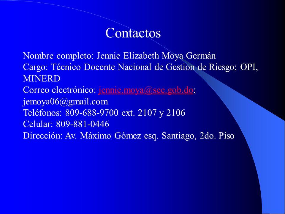 Contactos Nombre completo: Jennie Elizabeth Moya Germán