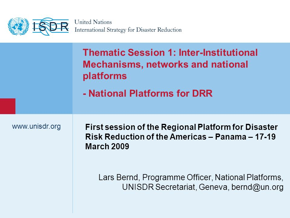 - National Platforms for DRR