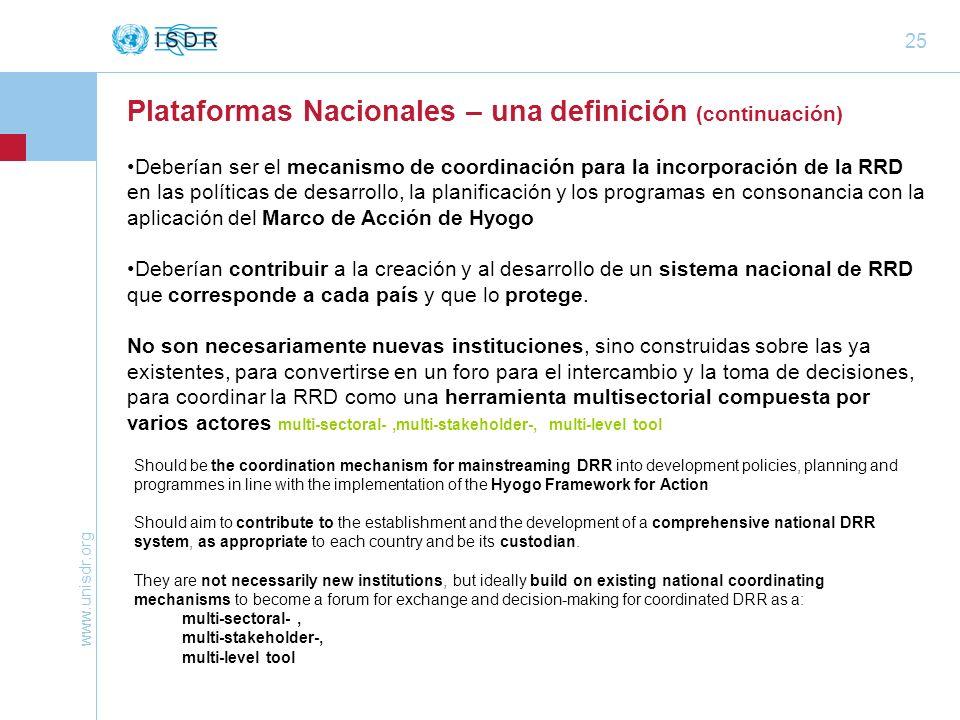 Plataformas Nacionales – una definición (continuación)